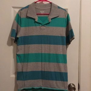 Men's Green and Blue striped polo